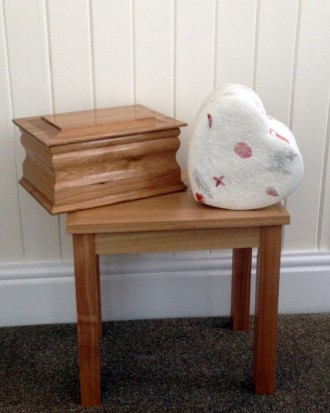 Solid Oak Ashes Casket & Leaf Urn