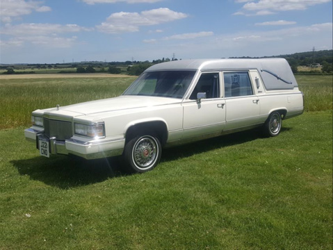 White Cadillac Hearse 1
